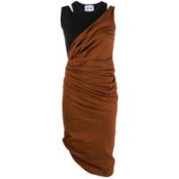 Lourdes Vestido Midi Assimétrico Franzido - Marrom