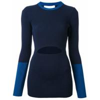 Victoria Beckham Suéter Canelado Com Recorte - Azul