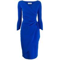 Le Petite Robe Di Chiara Boni Vestido Midi Com Franzido - Azul