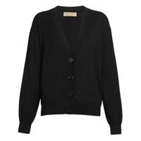 Burberry Vintage Check Detail Merino Wool Cardigan - Preto