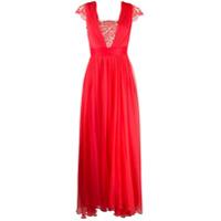 Rhea Costa Vestido Longo Com Pregas E Aplicação De Renda - Vermelho