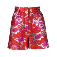 Msgm Short De Jacquard Floral - Vermelho