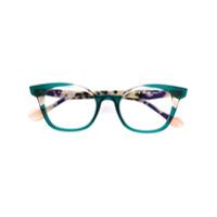 Face À Face Óculos De Gatinho Com Contraste - Verde