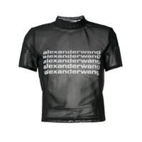 Alexander Wang Camiseta Translúcida Com Estampa De Logo - Preto