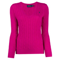 Polo Ralph Lauren V-Neck Cable Knit Sweater - Rosa
