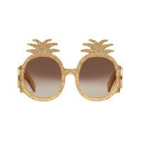 Gucci Eyewear Óculos De Sol De Acetato - Dourado
