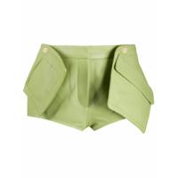 Jacquemus Short De Alfaiataria De Couro Com Bolso 3D - Verde