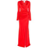 Galvan Vestido Longo Allegra Com Cintura Franzida - Vermelho