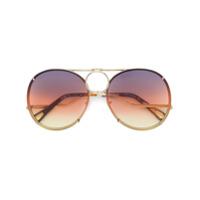 Chloé Eyewear Óculos De Sol Com Armação Redonda - Neutro