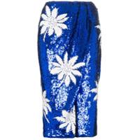 Filles A Papa Saia Floral Com Paetês - Azul