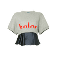Kolor Blusa Cropped Com Logo - Cinza