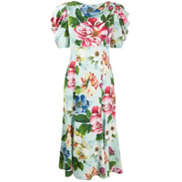 Dolce & Gabbana Vestido Midi Cady Com Estampa Floral - Verde