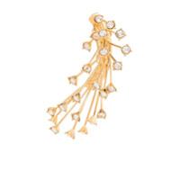 Panconesi Par De Brincos De Prata Banhado A Ouro Com Cristais - Dourado