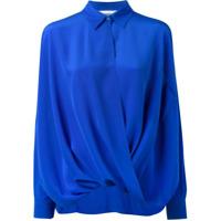 Moschino Camisa De Seda Com Drapeado - Azul