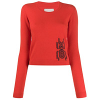Frankie Morello Embroidered Long-Sleeve Sweater - Vermelho