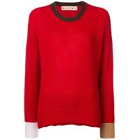 Marni Suéter Com Acabamento Contrastante - Vermelho