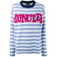 Moncler Grenoble Suéter Listrado Com Logo - Branco