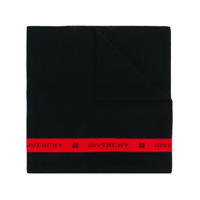 Givenchy Cachecol Com Listra E Logo - Preto