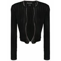 Pinko Cropped Ribbed Knit Cardigan - Preto
