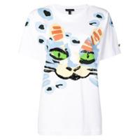 Escada Camiseta Com Estampa De Gato - Branco