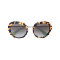 Prada Eyewear Óculos De Sol Armação Redonda - Marrom