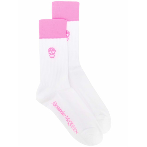 Imagem de Alexander McQueen Par de meias com estampa de caveira - Branco