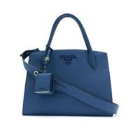 Prada Bolsa Tote De Couro - Azul