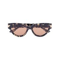 Bottega Veneta Eyewear Óculos De Sol Gatinho Com Efeito Tartaruga - Marrom