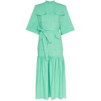 George Keburia Vestido Midi De Algodão Com Bolso - Verde