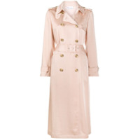 Red Valentino Trench Coat Com Pregas De Cetim - Neutro