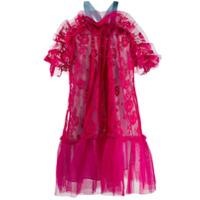 Gina Vestido Com Tule E Renda - Rosa
