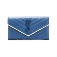 Saint Laurent Carteira De Couro 'lou Lou' - Azul
