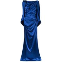 Talbot Runhof Vestido Longo Gilia Com Drapeado - Azul