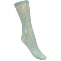 Fendi Logo Embroidered Socks - Azul