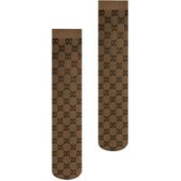 Gucci Gg Pattern Knee-High Socks - Marrom