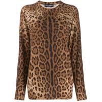 Dolce & Gabbana Blazer Animal Print De Cashmere - Marrom