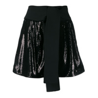 P.a.r.o.s.h. Obi Belt Sequin Shorts - Preto
