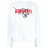 Diesel Suéter Mangas Longas Com Estampa De Logo - Branco