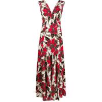 Colville Vestido Longo Com Estampa Floral - Vermelho