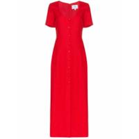 Rebecca De Ravenel Vestido De Linho Com Abotoamento - Vermelho