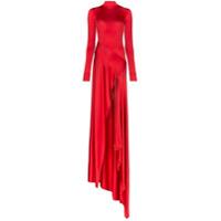 Michael Lo Sordo Vestido Assimétrico Com Fenda - Vermelho