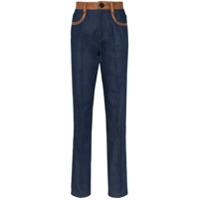 Wales Bonner Calça Jeans Com Recortes De Couro - Azul
