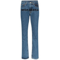 Vetements Calça Jeans Reta Gothic Magic Com Logo - Azul