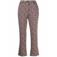 White Sand Cropped Leopard Print Trousers - Rosa