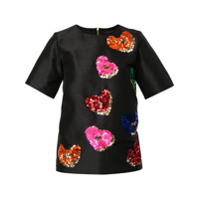 Manish Arora Camiseta Com Coração De Paetês - Preto