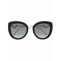 Fendi Eyewear Óculos De Sol Oversized Com Logo - Preto