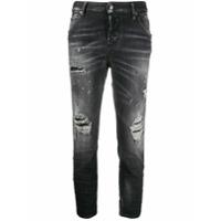 Dsquared2 Calça Jeans Cropped Com Detalhe Desgastado - Preto