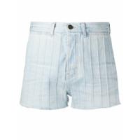 Saint Laurent Short Jeans Cintura Alta - Azul