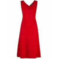 Narciso Rodriguez Vestido Decote Em V De Tricô - Vermelho