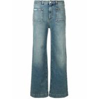 Alexa Chung Calça Jeans Reta Cropped - Azul